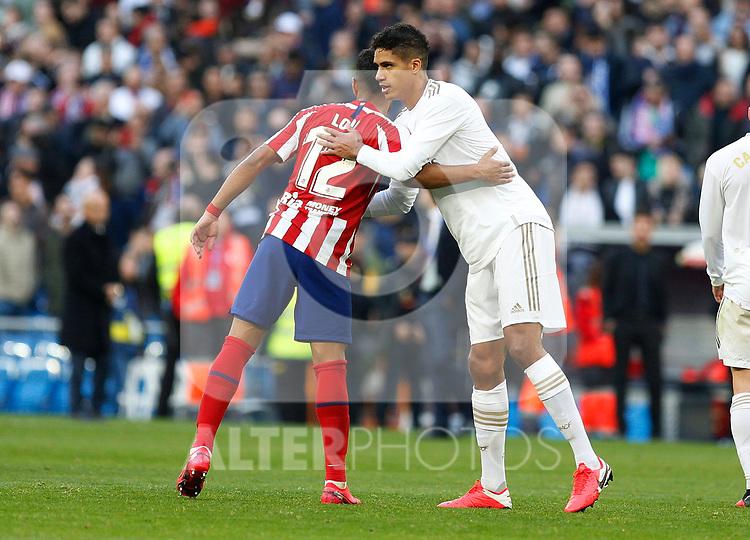 Real Madrid CF's Rapahel Varane and Atletico de Madrid's Renan Lodi during La Liga match. Feb 01, 2020. (ALTERPHOTOS/Manu R.B.)