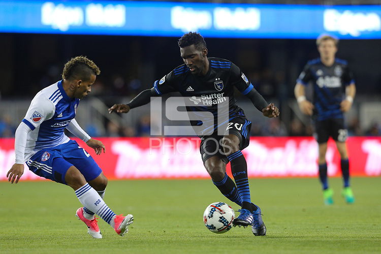 San Jose, CA - Friday April 14, 2017: Shaun Francis  during a Major League Soccer (MLS) match between the San Jose Earthquakes and FC Dallas at Avaya Stadium.
