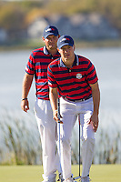 Patrick Reed and Jordan Spieth (Team USA) on the 10th during Saturday afternoon Fourball at the Ryder Cup, Hazeltine National Golf Club, Chaska, Minnesota, USA.  01/10/2016<br /> Picture: Golffile | Fran Caffrey<br /> <br /> <br /> All photo usage must carry mandatory copyright credit (&copy; Golffile | Fran Caffrey)