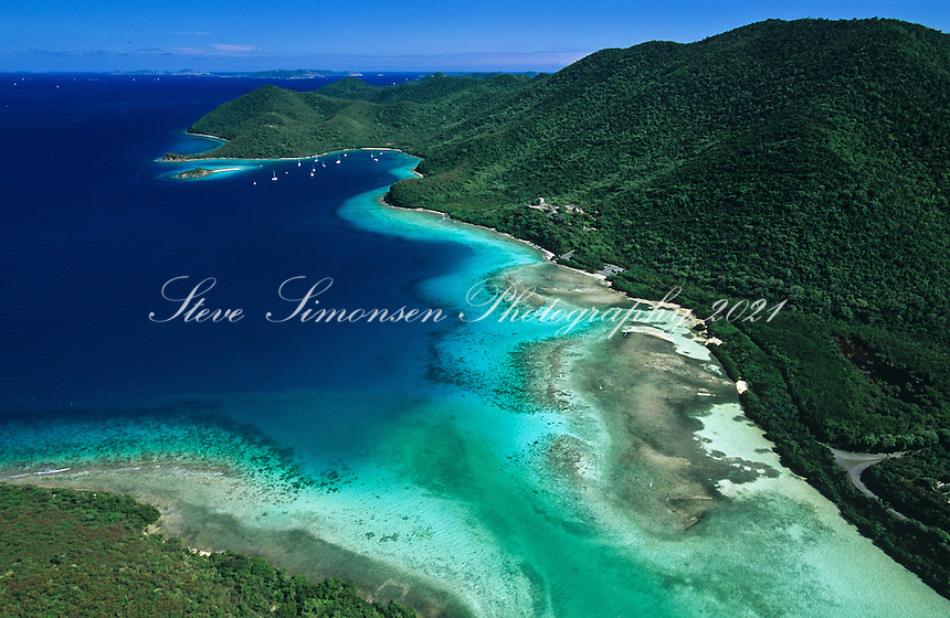 Aerial view of St.  John<br /> Showing Mary Creek and Leinster Bay<br /> Virgin Islands National Park<br /> U.S. Virgin Islands