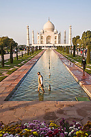 Worker repairing fountains in the pool of Taj Mahal. (Photo by Matt Considine - Images of Asia Collection)