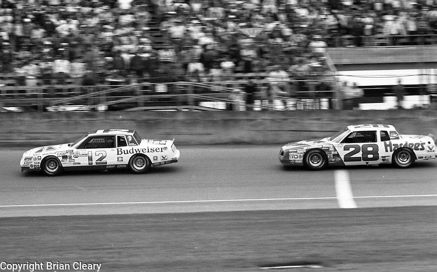 Neil Bonnett 12 Cale Yarborough 28 action Daytona 500 at Daytona International Speedway in Daytona Beach, FL on February  1984. (Photo by Brian Cleary/www.bcpix.com)