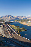 .Wenatchee Apple Yard.  September 2006.  Wenatchee at left. View looking North toward Burch Mountain.  Columbia River