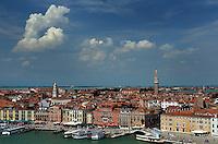 Michael McCollum.6/12/11.Elevated view of Venice from Venezia Canale della Giudecca Venice, Italy.