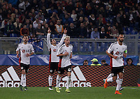 Calcio, Champions League, Gruppo E: Roma vs Bayer Leverkusen. Roma, stadio Olimpico, 4 novembre 2015.<br /> Bayer Leverkusen's Javier Hernandez, second from left, celebrates with teammates after scoring during a Champions League, Group E football match between Roma and Bayer Leverkusen, at Rome's Olympic stadium, 4 November 2015.<br /> UPDATE IMAGES PRESS/Isabella Bonotto