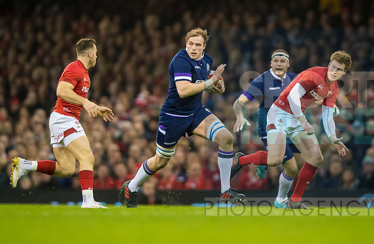 Scotlands Jonny Gray during the Six Nations Championship match at the Principality Stadium, Cardiff. Picture date 3rd February 2018. Picture credit should read: Craig Watson/Sportimage