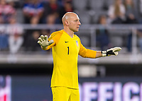 WASHINGTON, DC - OCTOBER 11: Brad Guzan #1 of the United States watches his defense during a game between Cuba and USMNT at Audi Field on October 11, 2019 in Washington, DC.