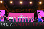 EF Education First on stage at the Teams Presentation held in Piazza Maggiore Bologna before the start of the 2019 Giro d'Italia, Bologna, Italy. 9th May 2019.<br /> Picture: Fabio Ferrari/LaPresse | Cyclefile<br /> <br /> All photos usage must carry mandatory copyright credit (&copy; Cyclefile | Fabio Ferrari/LaPresse)