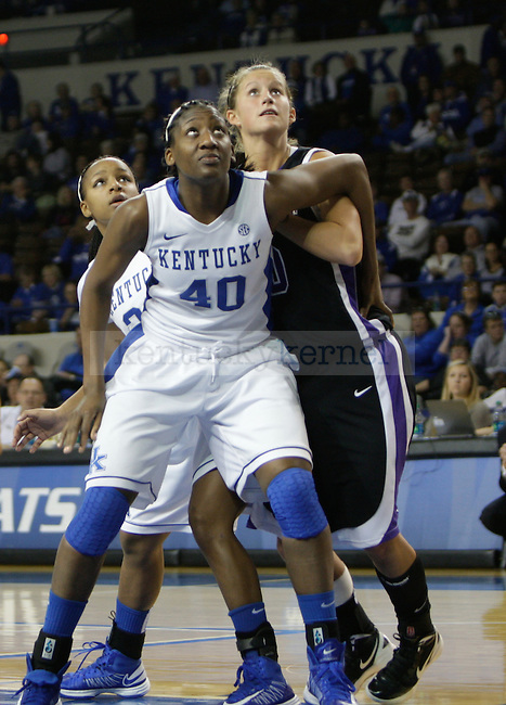 Senior forward Brittany Henderson fights for a rebound at the Women's Basketball game at Memorial Coliseum in Lexington, Ky., on Saturday, November. 17, 2012..