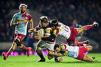 Ed Slater of Leicester Tigers is double-tackled to ground by Winston Stanley and Karl Dickson of Harlequins. Aviva Premiership match, between Leicester Tigers and Harlequins on November 20, 2016 at Welford Road in Leicester, England. Photo by: Patrick Khachfe / JMP