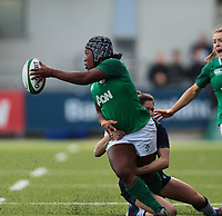 2nd February 2020; Energia Park, Dublin, Leinster, Ireland; International Womens Rugby, Six Nations, Ireland versus Scotland; Linda Djougang (Ireland) offloads the ball as she is tackled