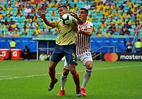 SALVADOR – BRASIL, 23-06-2019:Radamel Falcao de Colombia disputa el balón con Junior Alonso de Paraguay durante partido de la Copa América Brasil 2019, grupo B, entre Colombia y Paraguay jugado en el Arena Fonte Nova de Salvador, Brasil. /Radamel Falvcao of Colombia vies for the ball with Junior Alonso of Paraguay during the Copa America Brazil 2019 group B match between Colombia and Paraguay played at Fonte Nova Arena in Salvador, Brazil. Photos: VizzorImage / Julian Medina / Cont /