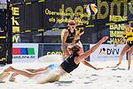 01.08.2020, Düsseldorf / Duesseldorf, Merkur Spiel-Arena<br /> Beachvolleyball, comdirect Beach Tour<br /> Top Teams<br /> Kim Behrens / Cinja Tillmann vs. Tanja Hüberli / Hueberli / Isabel Schneider <br /> <br /> Abwehr Cinja Tillmann <br /> <br />   Foto © nordphoto / Kurth