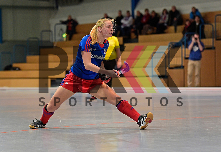 GER - Mannheim, Germany, November 28: During the 1. Bundesliga Sued Damen indoor hockey match between Mannheimer HC (blue) and Eintracht Frankfurt (black) on November 28, 2015 at Irma-Roechling-Halle in Mannheim, Germany. Final score 4-3 (HT 2-1).  Barbora Haklova #24 of Mannheimer HC<br /> <br /> Foto &copy; PIX-Sportfotos *** Foto ist honorarpflichtig! *** Auf Anfrage in hoeherer Qualitaet/Aufloesung. Belegexemplar erbeten. Veroeffentlichung ausschliesslich fuer journalistisch-publizistische Zwecke. For editorial use only.