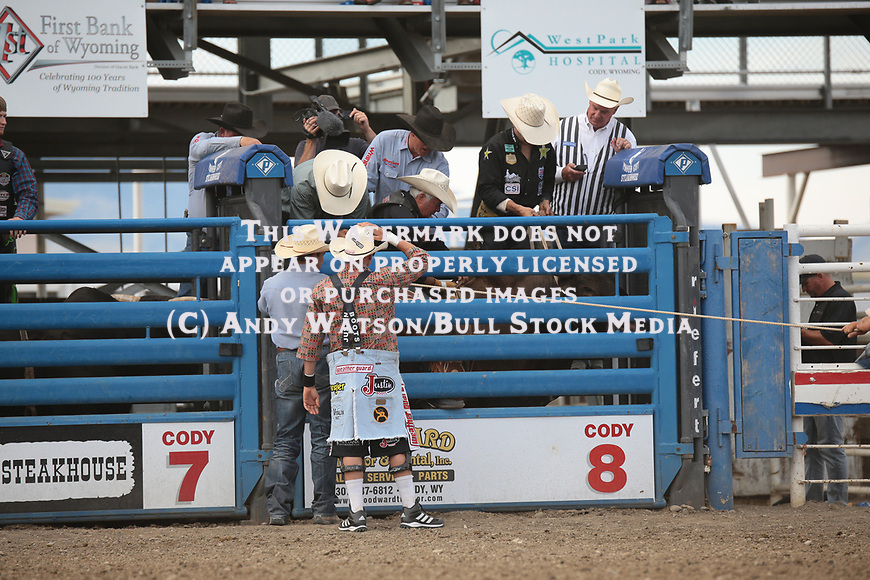 Steve Burleson during the fourth performance of the Cody PRCA rodeo. Photo by Andy Watson. All Photos (C) Watson Rodeo Photos, INC. Any use must have written Permission.