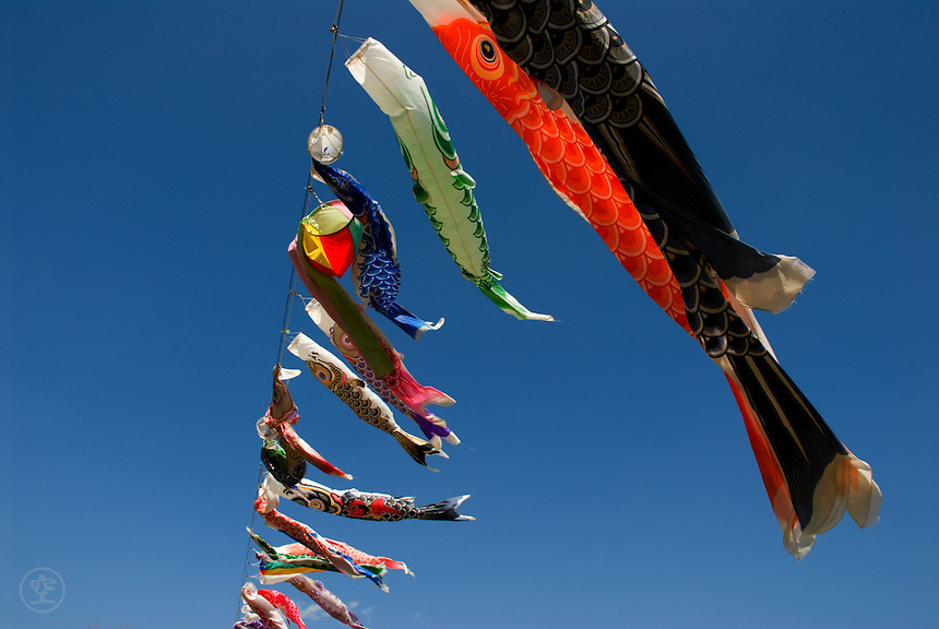 Carp flags or Koinobori, celebrating kodomo no hi or children's day, fly against a blue spring sky in Nagano, Japan