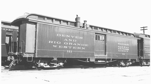 Baggage car #111 built by D&amp;RG in 1880 as #12.  Remodeled circa 1884/1886 and renumbered 1885/1886.<br /> D&amp;RGW  Durango, CO  Taken by Ward, Bert H. - 7/1946