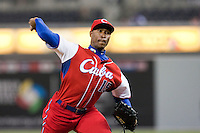 18 March 2009: #15 Danny Betancourt of Cuba pitches against Japan during the 2009 World Baseball Classic Pool 1 game 5 at Petco Park in San Diego, California, USA. Japan wins 5-0 over Cuba.