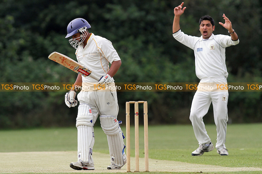 Shahbaz Khan of Ilford goes close to the wicket of H Malik - South Woodford vs Ilford - Essex Cricket League - 11/06/11 - MANDATORY CREDIT: Gavin Ellis/TGSPHOTO - Self billing applies where appropriate - Tel: 0845 094 6026