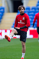 Joe Allen during Wales national team training ahead of the World Cup Qualification match against Republic of Ireland at Cardiff City Stadium, Cardiff, Wales on 8 October 2017. Photo by Mark  Hawkins.