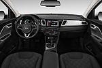 Stock photo of straight dashboard view of a 2018 KIA Niro LX PHEV 5 Door Hatchback