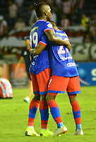 BARRANQUILLA-COLOMBIA, 21-04-2019: José Ortiz y Fabián Viafara de Deportivo Pasto, celebran el empate con Deportivo Pasto, durante partido de la fecha 17 entre Atlético Junior y Deportivo Pasto, por la Liga Águila I 2019, jugado en el estadio Metropolitano Roberto Meléndez de la ciudad de Barranquilla. / Jose Ortiz and Fabin Viafara of Deportivo Pasto, celebrate the tie with Deportivo Pasto, during a match of the 17th date between Atletico Junior and Deportivo Pasto, for the Aguila Leguaje I 2019 played at the Metropolitano Roberto Melendez Stadium in Barranquilla city, Photo: VizzorImage / Alfonso Cervantes / Cont.