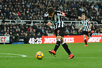 Dwight Gayle of Newcastle United sanders another chance during Newcastle United vs Swansea City, Premier League Football at St. James' Park on 13th January 2018