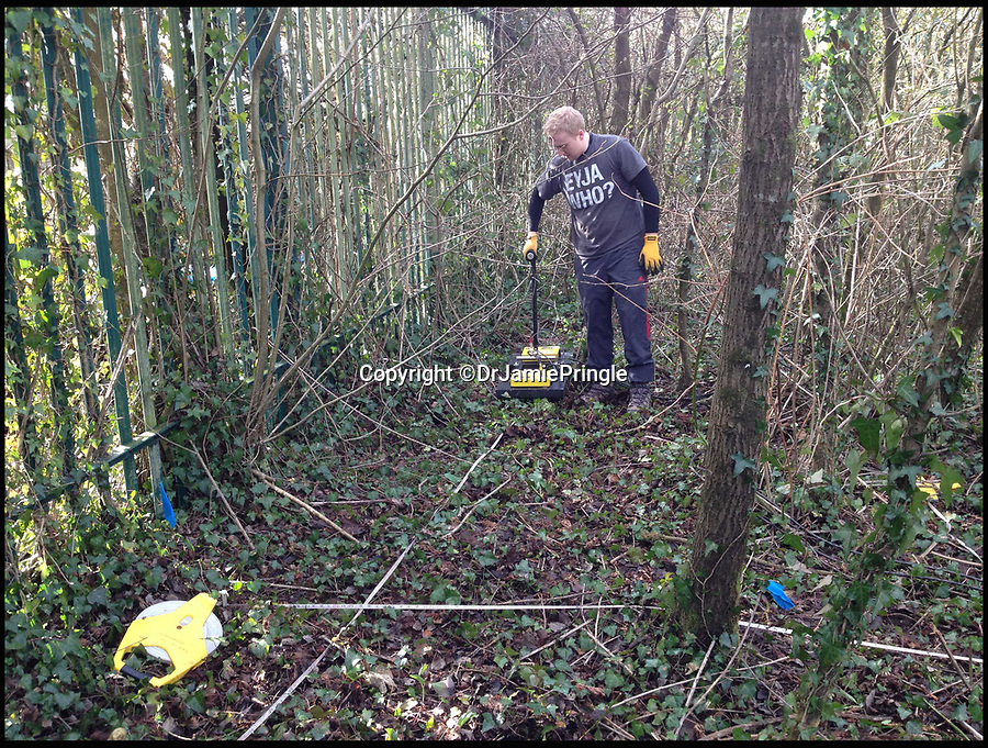 BNPS.co.uk (01202 558833)Pic: DrJamiePringle/BNPS<br /> <br /> Scanning the surface of the ground to create a 3D digital model of the site...<br /> <br /> Die Grosse Flucht- The German Great Escape<br /> <br /> The incredible story of 84 Germans who escaped from a Welsh Prisoner of War Camp during World War Two has been retold after their hidden tunnel was discovered and excavated. <br /> <br /> On March 10 1945 a whole hut of captured Axis officers descended underground and successfully executed a brazen getaway in a scene reminiscent of those played out in the 1963 epic The Great Escape. <br /> <br /> Over 70 years later a team of scientists and historians entered the deserted Camp 198 in Bridgend to examine the only remnant of it, Hut 9, where the cunning plan was hatched. <br /> <br /> Dr Jamie Pringle, of Keele University in Staffordshire, who previously helped locate 'Dick', one of the three famous Great Escape tunnels at Stalag Luft III, led the investigation.