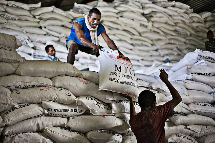 Workers load bags of Vietnamese rice into waiting trucks at a government run storage warehouse in Dili, East Timor, December 22, 2009. The rice was purchased with a controversial subsidy that critics like the Asian Development Bank say hurts and discourages local producers.