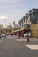 Stores and people on the Malecon in the port city of Veracruz, Mexico.