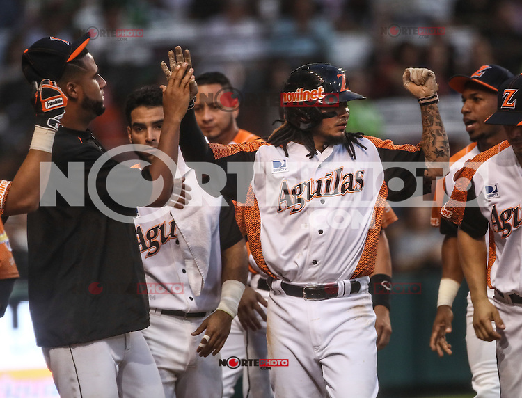Ronny Cede&ntilde;o   y Freddy Galvis celebran carrera de Venezuela, durante el partido de beisbol de la Serie del Caribe entre Alazanes de Granma Cuba vs las &Aacute;guilas del Zulia Venezuela en el Nuevo Estadio de los Tomateros en Culiacan, Mexico, Sabado 4 Feb 2017. Foto: Luis Gutierrez/NortePhoto.com.    ****<br /> <br /> Actions, during the Caribbean Series baseball match between Granma Cuba vs Alajuelas de Zulia Venezuela at the New Tomateros Stadium in Culiacan, Mexico, Saturday 4 Feb 2017. Photo: Luis Gutierrez / NortePhoto.com