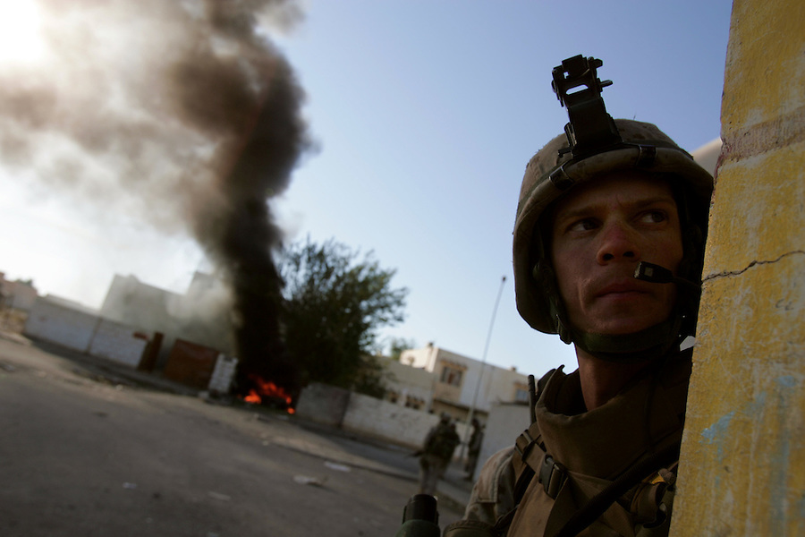 Marines from Golf Co. 2nd Battalion 1st Marines carry on with Operation Steel Curtain in Obeidi, Iraq on Tues. Nov. 15, 2005.