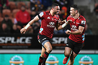 1st August 2020, Hamilton, New Zealand;  Bryn Hall and Codie Taylor.<br /> Chiefs versus Crusaders, Super Rugby Aotearoa, FMG Waikato Stadium, Hamilton, New Zealand.