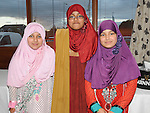 Hadeesa, Hozan and Hejaab Fatima pictured at the Eid ai-Fitr Festivity after completing the fasting month of Ramadan held in Drogheda Leisure Centre. Photo: Colin Bell/pressphotos.ie