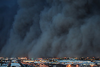 Apr. 26, 2011; Phoenix, AZ, USA; A dust storm converges on downtown Phoenix. Chase Field in Phoenix is hosting the 2011 All Star Game. Mandatory Credit: Mark J. Rebilas-