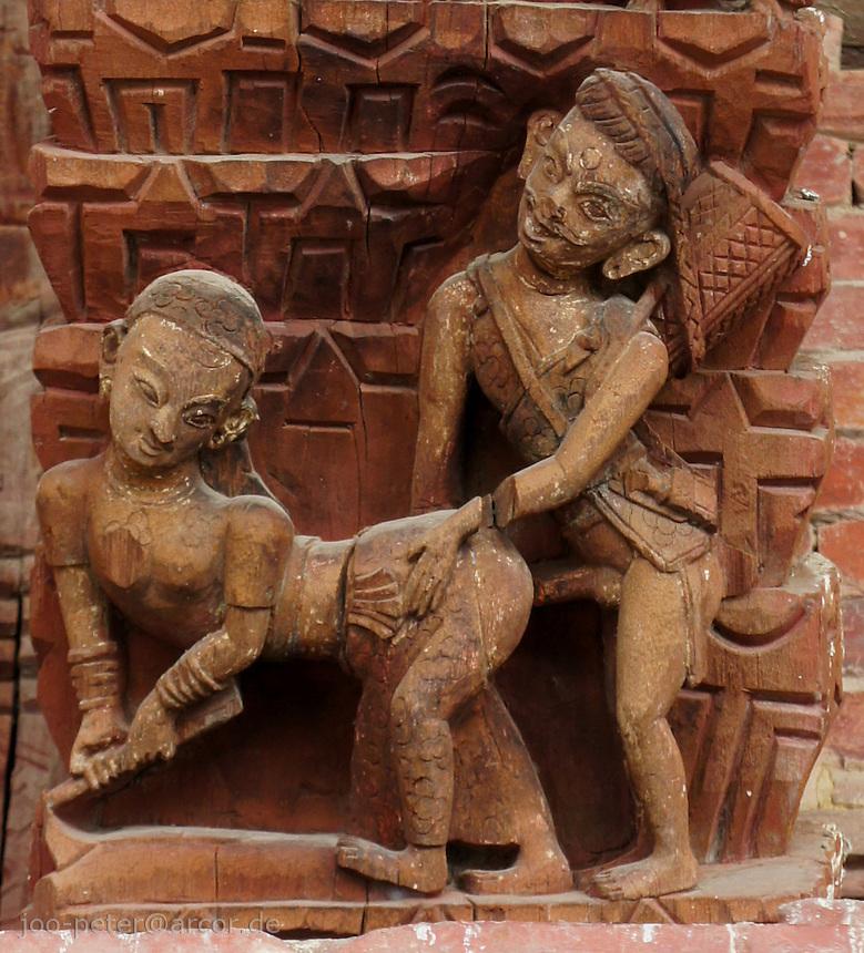 erotic wood carving Jagannath Mandir temple,  Durbar Square, Kathmandu, Nepal, October 2011