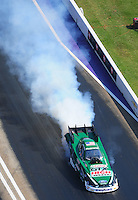 Apr. 28, 2012; Baytown, TX, USA: Aerial view of NHRA funny car driver John Force during qualifying for the Spring Nationals at Royal Purple Raceway. Mandatory Credit: Mark J. Rebilas-