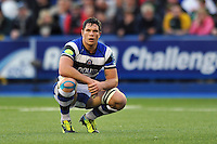 Francois Louw takes a breather during a break in play. Amlin Challenge Cup Final, between Bath Rugby and Northampton Saints on May 23, 2014 at the Cardiff Arms Park in Cardiff, Wales. Photo by: Patrick Khachfe / Onside Images