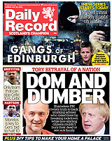 Daily Record newspaper Front page reporting on Prime Minister's TV Address to the Nation. May 25th 2020