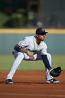 Gwinnett Stripers third baseman Johan Camargo (17) on defense against the Scranton/Wilkes-Barre RailRiders at BB&T BallPark on August 18, 2019 in Lawrenceville, Georgia. The RailRiders defeated the Stripers 9-3. (Brian Westerholt/Four Seam Images)