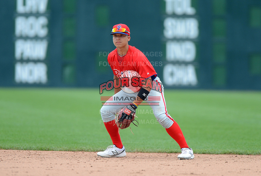 Shortstop Isan Diaz (26) of Springfield Central High School in Massachusetts playing for the Philadelphia Phillies scout team during the East Coast Pro Showcase on July 31, 2013 at NBT Bank Stadium in Syracuse, New York.  (Mike Janes/Four Seam Images)