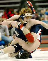 Council Rock's Mike Rappo, left, scrambles after Shaler's Matt Nelson, right, in the AAA 130 pound class quarterfinal round of the PIAA Wrestling Championship Friday, March 10, 2006, in Hershey, Pa. Rappo beat Nelson. (AP Photo/Bradley C Bower)