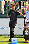 30 August 2009: Mike Weir of Canada waits for his tee time on the 1st tee during the final round of The Barclays PGA Playoffs at Liberty National Golf Course in Jersey City, New Jersey.