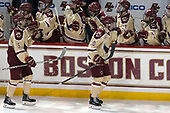 Casey Fitzgerald (BC - 5), Christopher Brown (BC - 10) - The Boston College Eagles defeated the University of Notre Dame Fighting Irish 6-4 (EN) on Saturday, January 28, 2017, at Kelley Rink in Conte Forum in Chestnut Hill, Massachusetts.The Boston College Eagles defeated the University of Notre Dame Fighting Irish 6-4 (EN) on Saturday, January 28, 2017, at Kelley Rink in Conte Forum in Chestnut Hill, Massachusetts.