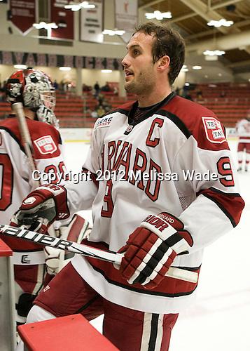 Danny Biega (Harvard - 9) - The Yale University Bulldogs defeated the Harvard University Crimson 5-1 on Saturday, November 3, 2012, at Bright Hockey Center in Boston, Massachusetts.