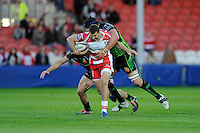 Jonny May of Gloucester Rugby is tackled by Mitch Lees of Exeter Chiefs during the European Rugby Challenge Cup semi final match between Gloucester Rugby and Exeter Chiefs at Kingsholm Stadium on Saturday 18th April 2015 (Photo by Rob Munro)