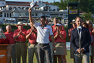 Bethesda, MD - June 29, 2014: Justin Rose (c) waves as he is introduced before accepting the trophy for winning the Quicken Loans National at Congressional Country Club in Bethesda, MD, June 29, 2014. Rose won the tournament after a playoff with Shawn Stefani.  (Photo by Don Baxter/Media Images International)