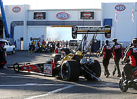Nov 7, 2013; Pomona, CA, USA; NHRA top fuel dragster driver David Grubnic in the staging lanes during qualifying for the Auto Club Finals at Auto Club Raceway at Pomona. Mandatory Credit: Mark J. Rebilas-