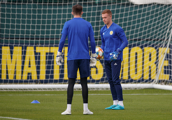 02.09.2019 Scotland u-21 training, Oriam, Edinburgh.<br />Goalkeeper Kieran Wright of Rangers FC