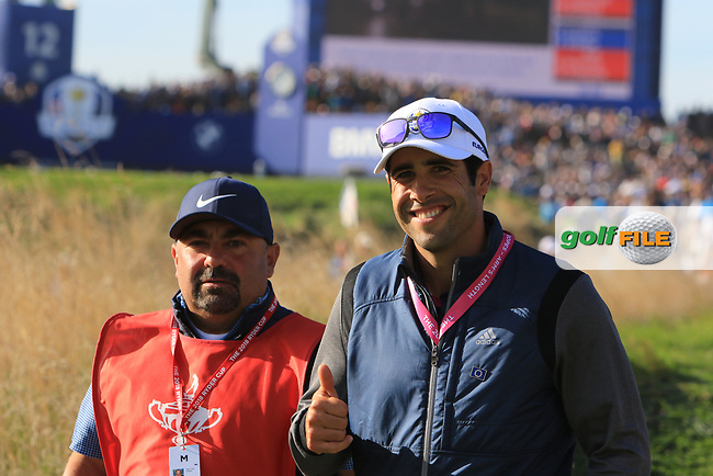 Adrian Otaegui (ESP) on the 13th during Saturday Foursomes at the Ryder Cup, Le Golf National, Ile-de-France, France. 29/09/2018.<br /> Picture Thos Caffrey / Golffile.ie<br /> <br /> All photo usage must carry mandatory copyright credit (© Golffile | Thos Caffrey)